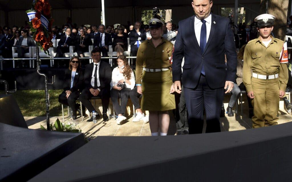 ראש הממשלה נפתלי בנט בטקס האזכרה לזכר יצחק רבין בהר הרצל בירושלים, 18 באוקטובר 2021 (צילום: Debbie Hill/Pool via AP)
