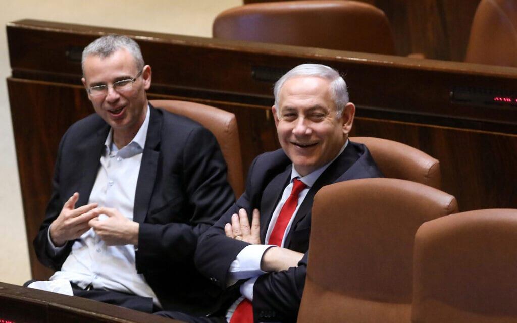 בנימין נתניהו ויריב לוין במליאת הכנסת (צילום: יונתן זינדל/פלאש90)