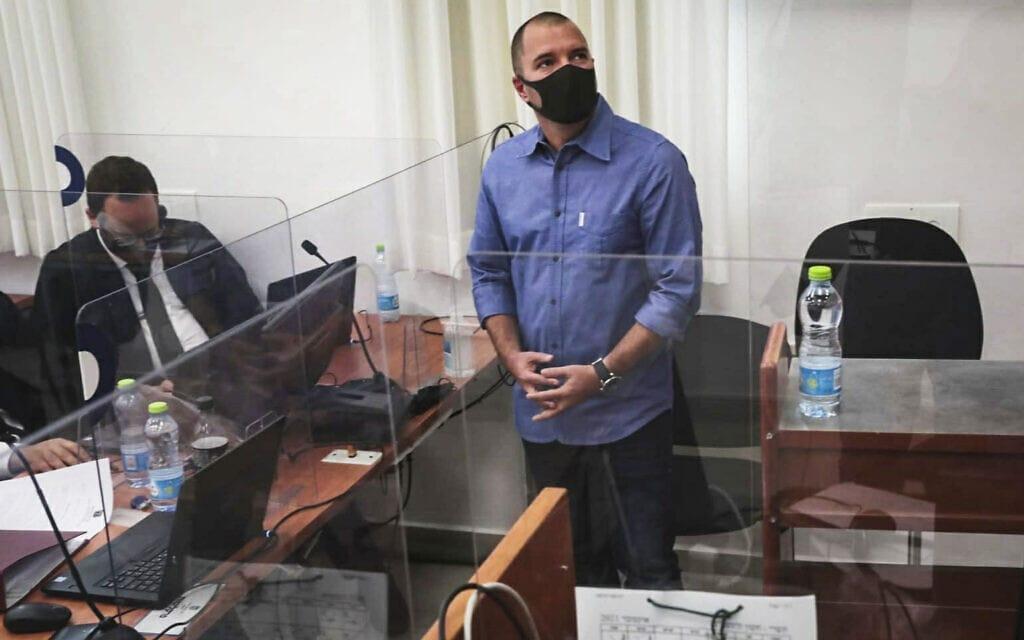 אבירם אלעד בבית המשפט המחוזי בירושלים, 11 באוקטובר 2021 (צילום: פלאש 90)