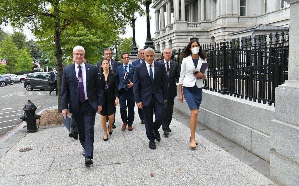 ראש הממשלה החליפי ושר החוץ יאיר לפיד בוושינגטון, 12 באוקטובר 2021 (צילום: שלומי אמסלם)