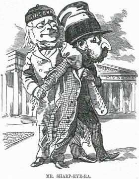 """קריקטורה שפורסמה ב""""פאנץ'"""" ולועגת לשפירא, המוצג כנוכל עם מאפיינים יהודיים סטריאוטיפיים (Mr. Sharp-Eye-Ra (cartoon), ויקיפדיה)."""