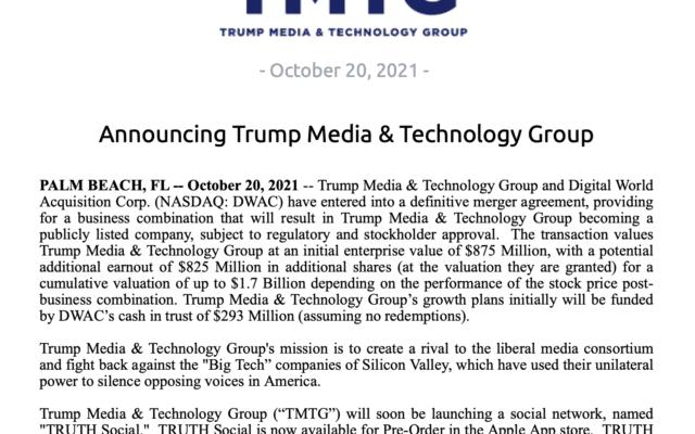 צילום מסך מתוך ההודעה לעיתונות על הקמת הרשת של טראמפ