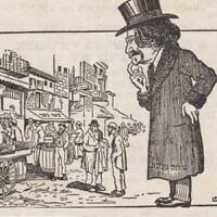 """קריקטורה ב""""קונדס"""" הניו יורקי, 1914, לרגל ביקורו של שלום עליכם בניו יורק, עם הטקסט: """"על פי השכל – זוהי ניו יורק, לפי הריח – כתריאליבקה"""" (מתוך ארכיון תמונות גנזים)"""