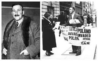 אישה רוחשת עיתון המבשר על פלישת גרמניה הנאצית לפולין; הסופר שטפן צוויג (צילום: AP Photo)